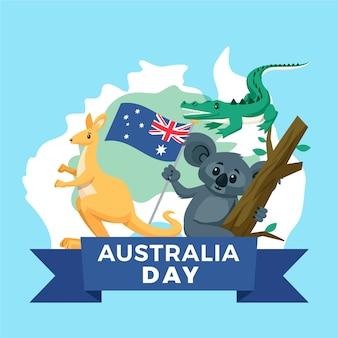 Dia da austrália com mapa e animais