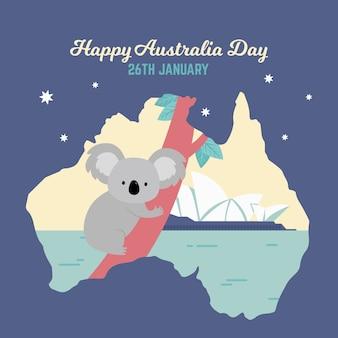 Dia da austrália com mapa e coala