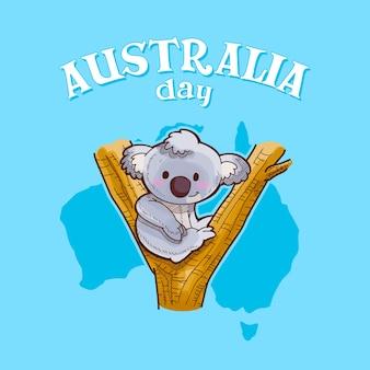 Dia da austrália com um coala sentado na árvore