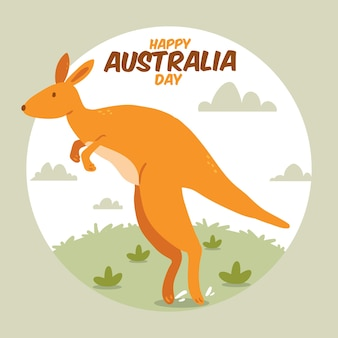 Dia da austrália desenhada de mão