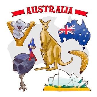 Dia da austrália desenhado à mão com canguru e coala