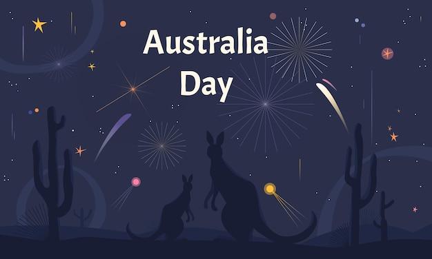 Dia da austrália horizontal com cangurus assistindo fogos de artifício em uma savana.