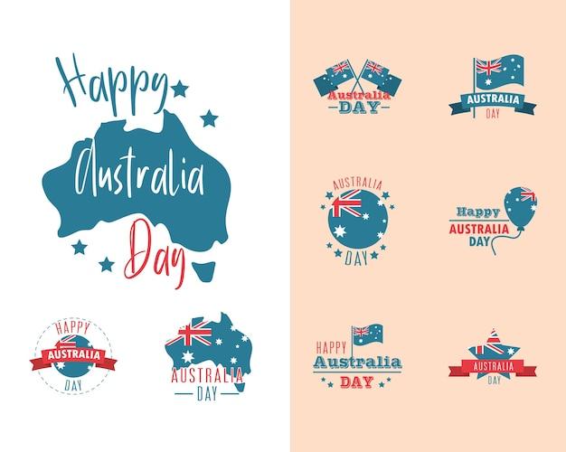 Dia da austrália, ícones de celebração nacional de bandeira de mapa de letras definir ilustração