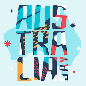 Dia da austrália letras coloridas
