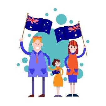 Dia da austrália nacional bandeira família crianças ilustração vetorial