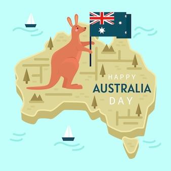 Dia da austrália plana com canguru fofo