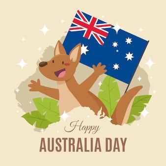Dia da austrália plana com canguru sorridente