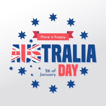 Dia da austrália plana com estrelas e data
