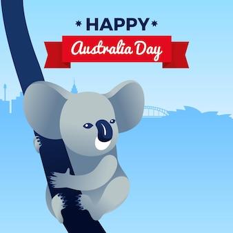 Dia da austrália plana com ilustração de coala
