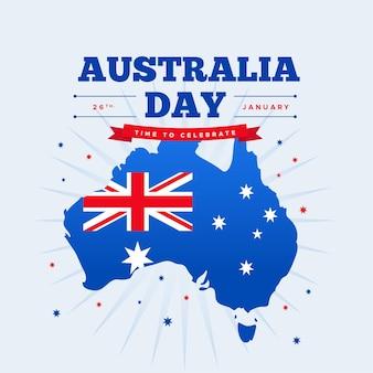 Dia da austrália plana com mapa australiano