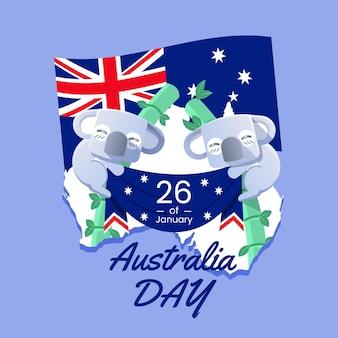 Dia da austrália plana com ursos coala