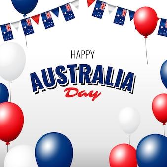 Dia da austrália realista com balões e guirlandas
