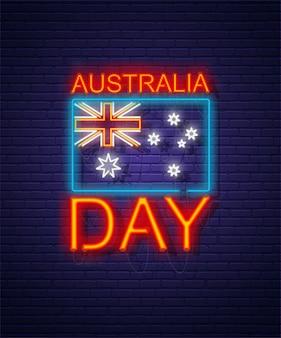 Dia da austrália. sinal de néon na parede de tijolo. feriado nacional australiano. bandeira e texto