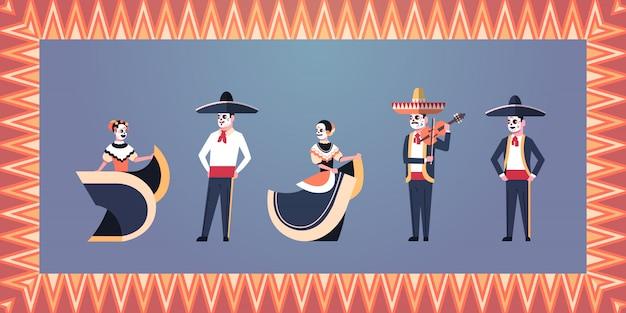 Dia da bandeira do dia das bruxas mexicano tradicional morto