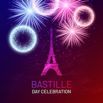 Dia da bastilha realista com fogos de artifício
