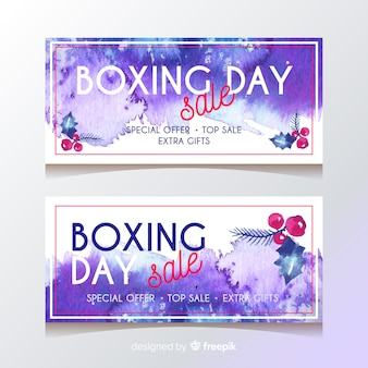 Dia da boxe banners estilo aquarela