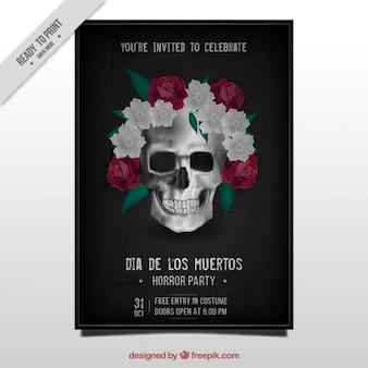 Dia da brochura mortos do crânio mexicano