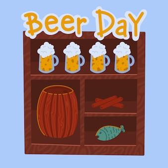 Dia da cerveja, barril de cerveja, caneca de cerveja, lanche, fundo azul