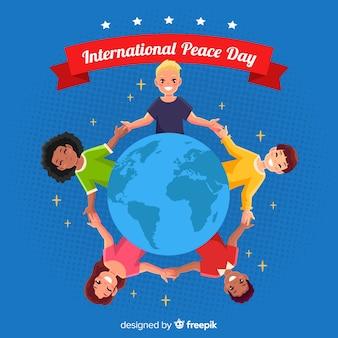 Dia da composição da paz com as crianças de mãos dadas