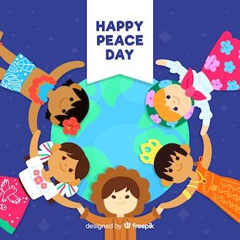 Dia da composição da paz com crianças planas