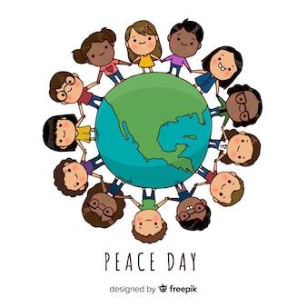 Dia da composição de paz com crianças de mão desenhada