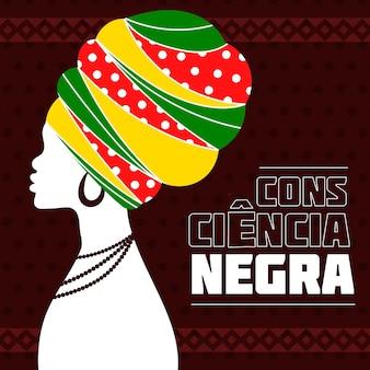 Dia da consciência negra de mulher com chapéu grande