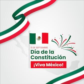 Dia da constituição do méxico com bandeiras