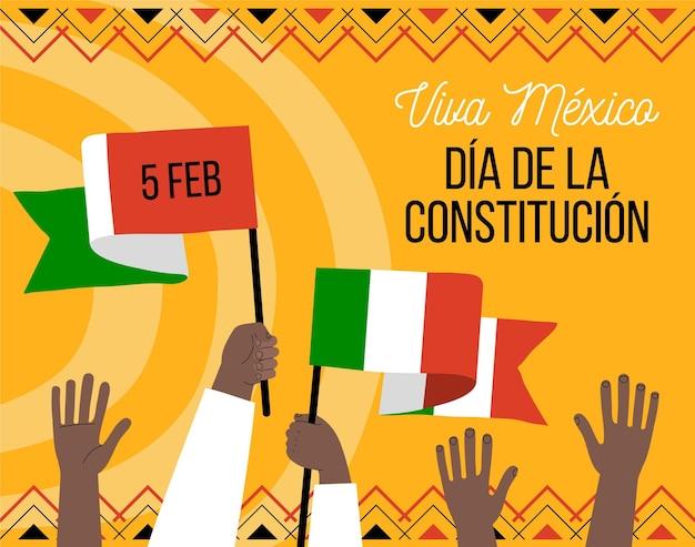 Dia da constituição do méxico desenhado à mão