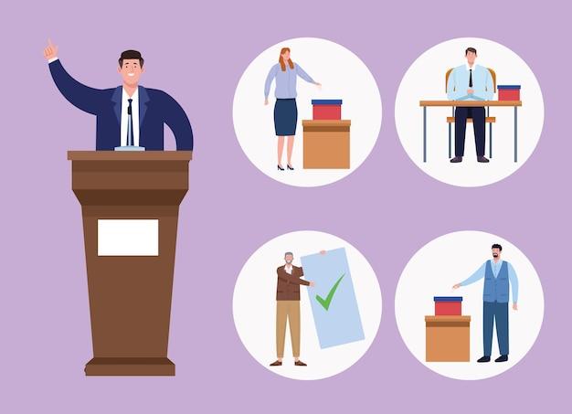 Dia da eleição de cinco pessoas