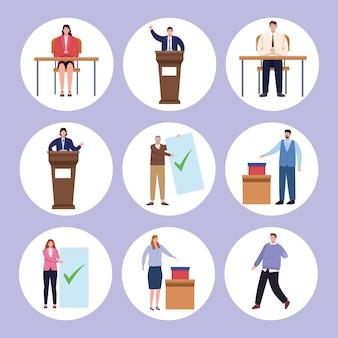 Dia da eleição de nove pessoas