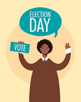 Dia da eleição em balão com cartão de levantamento de homem afro
