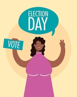 Dia da eleição em balão com mulher afro levantando cartão de voto