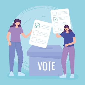 Dia da eleição, jovens mulheres com cédulas e ilustração vetorial de voto em caixa de papelão
