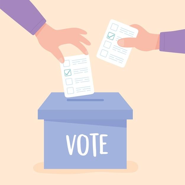 Dia da eleição, mãos empurrando a cédula de papel na ilustração vetorial de caixa de papelão