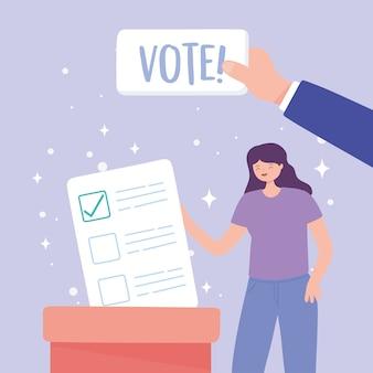 Dia da eleição, mulher com voto na urna e mão com ilustração vetorial de letras de voto