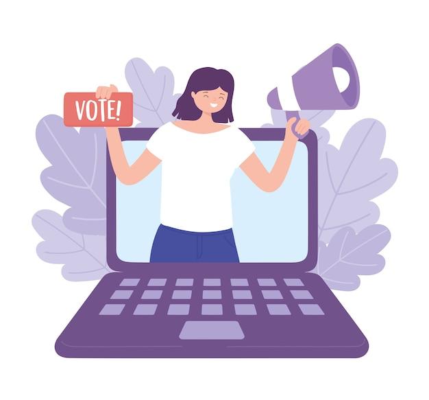 Dia da eleição, mulher feliz no laptop com megafone e ilustração em vetor letras de voto
