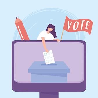 Dia da eleição, mulher votante online com ilustração vetorial de cédula