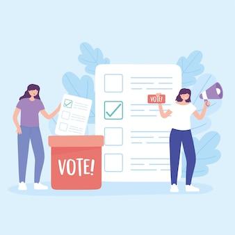 Dia da eleição, mulheres com cédula de megafone na ilustração vetorial de votação na caixa