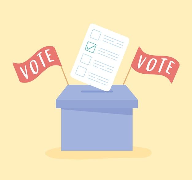 Dia da eleição, papel na urna e ilustração vetorial de bandeiras