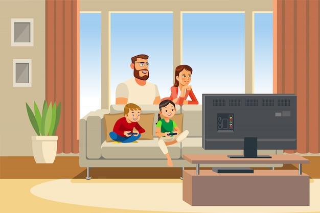 Dia da família feliz fora cartoon ilustração vetorial