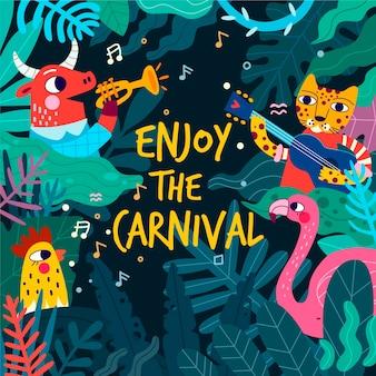 Dia da festa de carnaval desenhados à mão