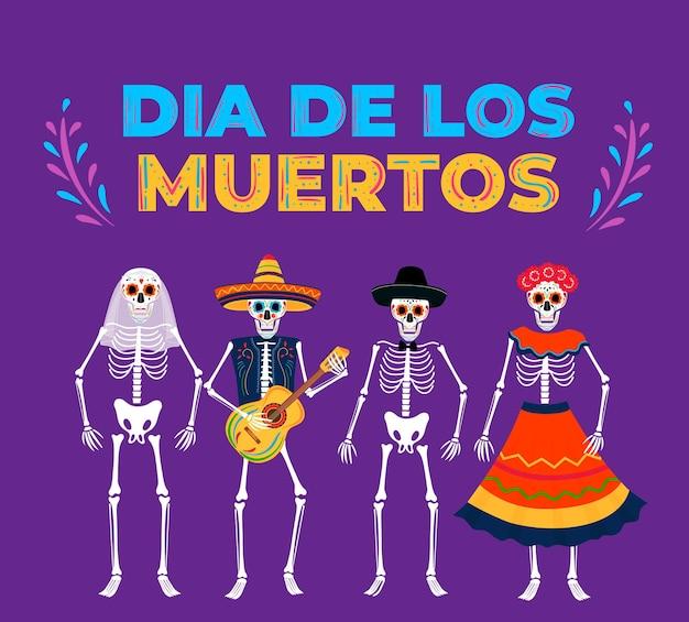 Dia da festa dos mortos. banner do dia de los muertos. esqueletos pintados tocam instrumentos musicais.