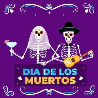 Dia da festa dos mortos. banner do dia de los muertos. noiva e noivo esqueletos pintados