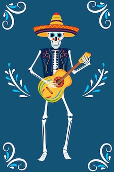Dia da festa dos mortos. cartões dea de los muertos. esqueletos pintados tocam guitarra.