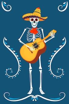 Dia da festa dos mortos. cartões dea de los muertos. esqueletos pintados tocam no violão.