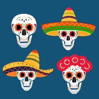 Dia da festa dos mortos. dea de los muertos. crânios pintados.