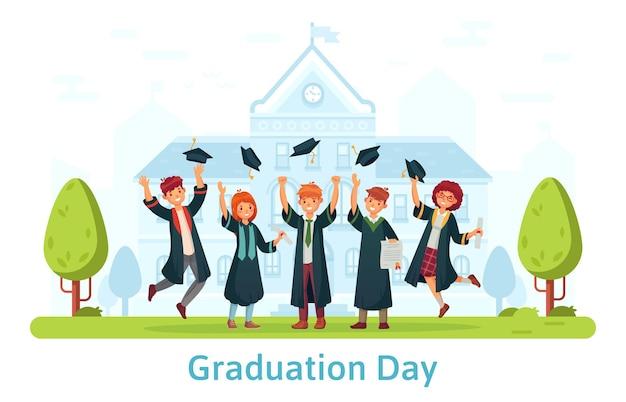 Dia da formatura, alunos felizes comemorando, jogando o chapéu. ilustração dos desenhos animados