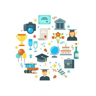 Dia da formatura e conceito de aprendizagem com ícones de festa de pós-graduação