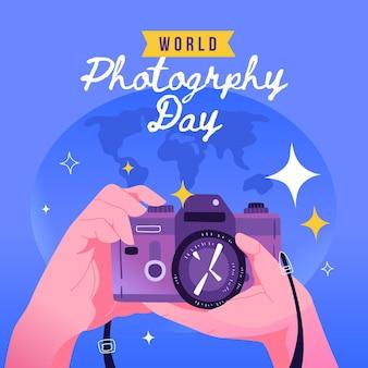 Dia da fotografia mundial câmera foto