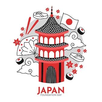 Dia da fundação desenhado à mão no japão
